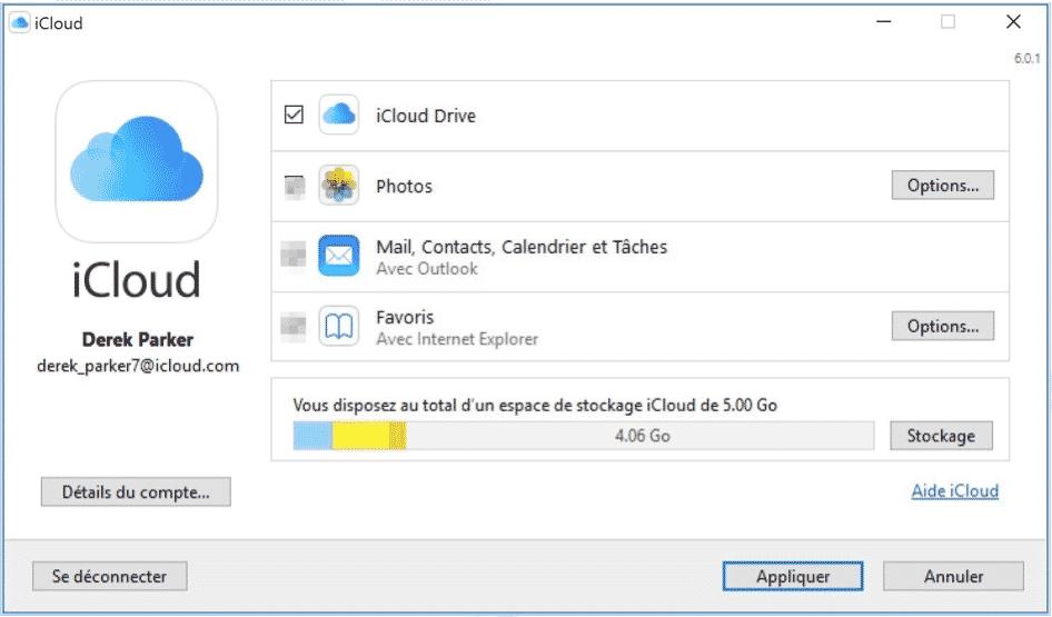 Configuration d'iCloud