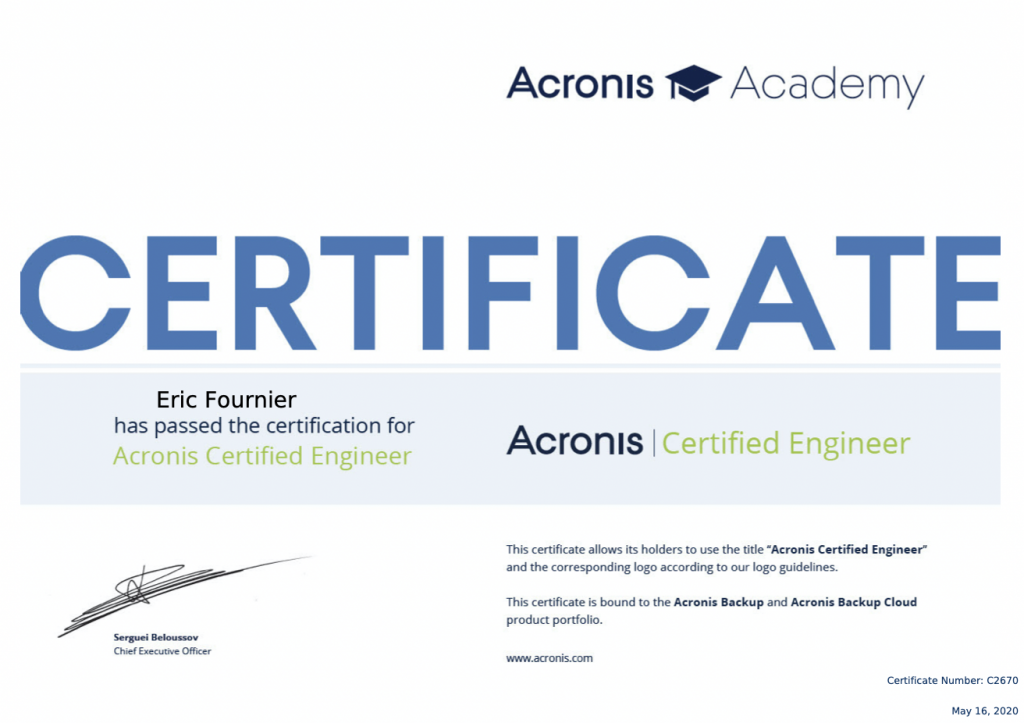 Acronis Certified Engineer Eric Fournier